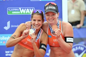 Beachvolleyball-Team Chantal Laboureur/Julia Sude bei der EM in Jurmala (Foro: Tom Bloch)