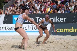 Beachvolleyball-Nationalteam Laboureur/ Sude bei der Techniker Beach Tour 2018 in Münster | Foto: Joern Pollex/HOCH ZWEI