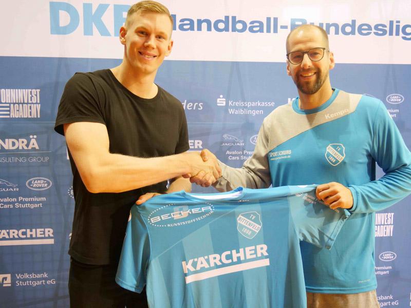 Adam Lönn (links) verpflichtet sich ab der nächsten Saison für den TVB 1898 Stuttgart unter Geschäftsführer Jürgen Schweikardt (rechts) | Foto: TVB 1898