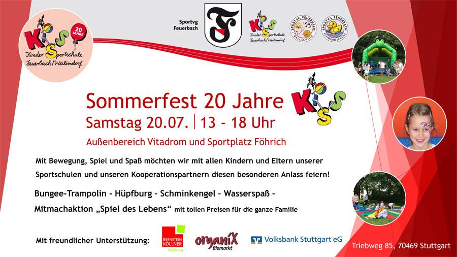 Das Plakat zum Sommerfest 20 Jahre KiSS | Foto: Sportvg