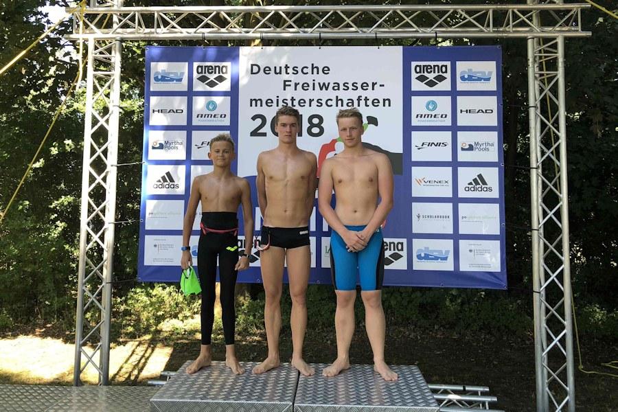 Die TBC-Staffel bei den Deutschen Meisterschaften im Freiwasser: Ben Vester, Max Schenke und Fabian Ebinger | Foto: TBC