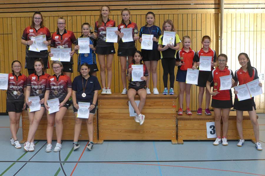 Alle Medaillengewinnerinnen in den Altersklassen der Mädchen | Foto: TTVWH