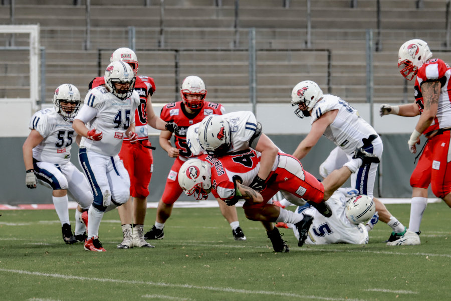 Relegations-Hinspiel der Stuttgart Scorpions gegen die Ravensburg Razorbacks   Foto: Sarah Philipp